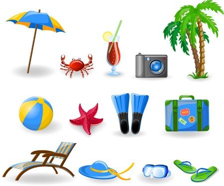 Travel icons, palm, ball, lounge, umbrella, flip-flops Stock Vector - 26742568