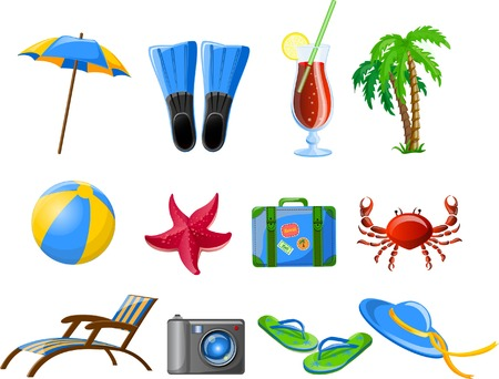 Travel icons, palm, ball, lounge, umbrella, flip-flops Stock Vector - 26742575
