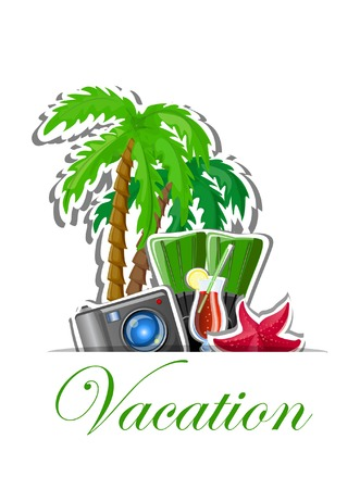 luggage tag: Vacation and travel background Illustration