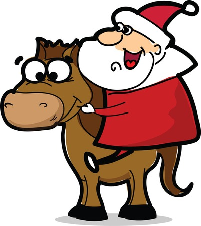 Funny Santa Claus with horse