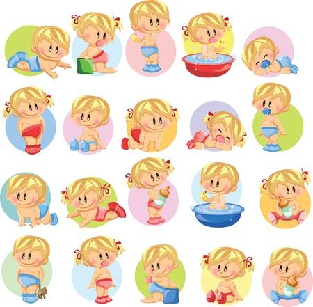boy bath: Vector illustration of baby boys and baby girls  Illustration