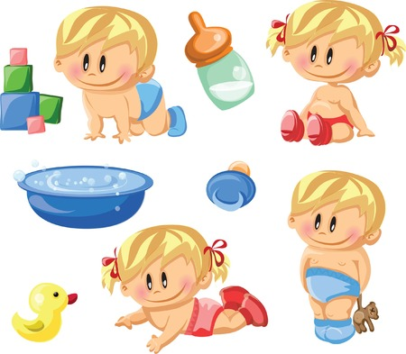 baby bath: Vector illustration of baby boys and baby girls Illustration
