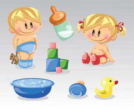 vector girl: Vector illustration of baby boy, baby girl