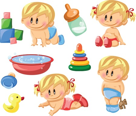 Cartoon baby and children s accessories  Vector