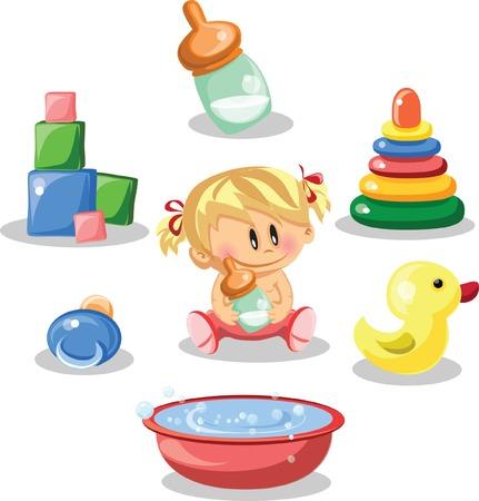 Cartoon baby and children s accessories  Vector