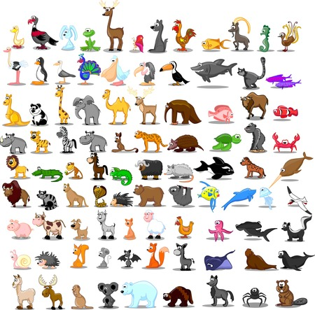 Super set of cute cartoon animals  Vector