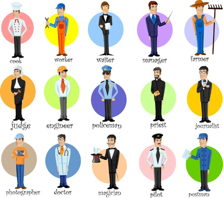 postman: Cartoon characters of different professions  Illustration