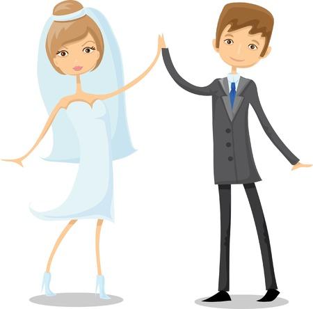 love story: Cartoon wedding picture  Illustration
