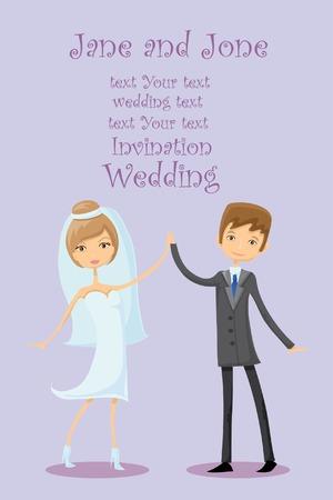 bridal couple: Cartoon wedding picture  Illustration