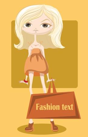 Cartoon fashionable girl with bag Vector