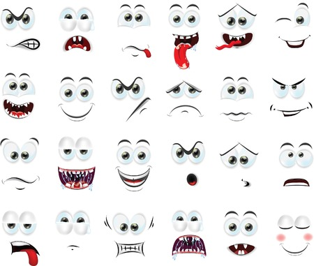 sad face: Cartoon faces with emotions  Illustration