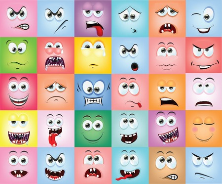 sad face: Cartoon faces with emotions