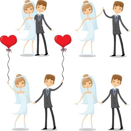 devotions: Set of cartoon wedding pictures