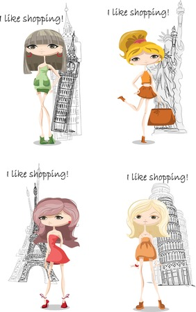 Fashion girls in different country Vector