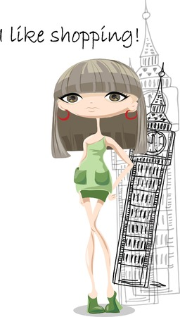 Fashion girl in London, vector background  Vector