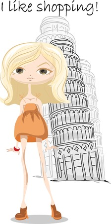 Fashion girl in Italy , vector background  Vector