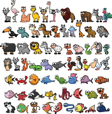 Set of cute cartoon animals Banco de Imagens - 29380530