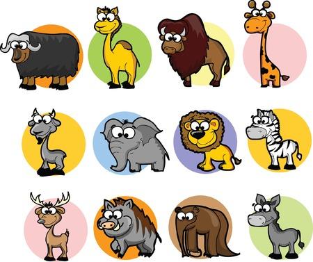 oso perezoso: Conjunto de animales lindos de la historieta Vectores