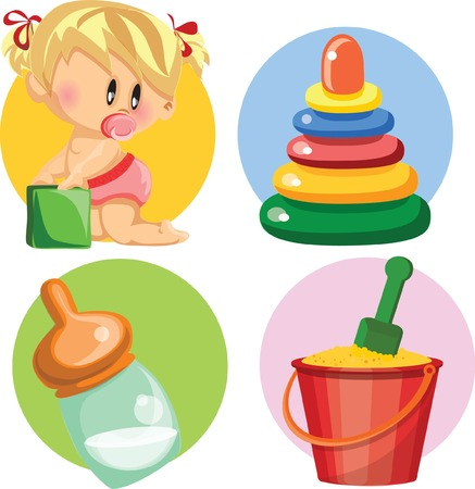 Vector illustration of baby girl and nursery accessories