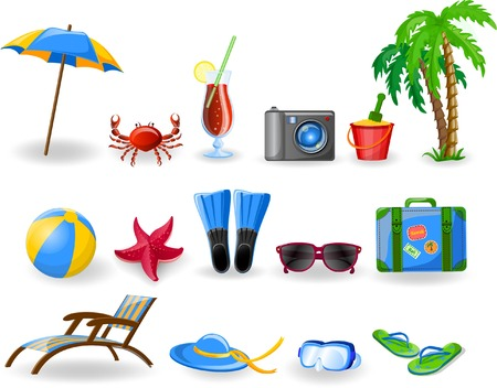 Travel icons, palm, ball, lounge, umbrella, flip-flops Stock Vector - 29380773