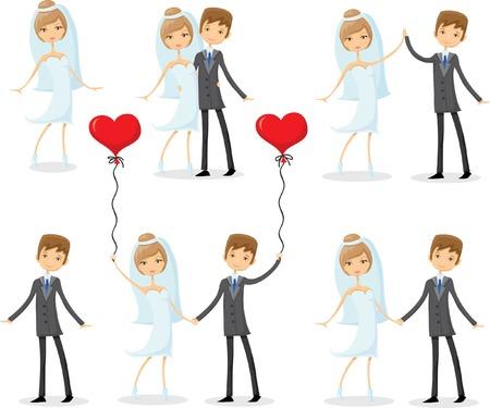 Conjunto de dibujos animados de boda fotos