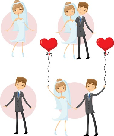 Set of cartoon wedding pictures