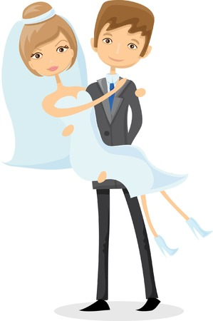 good luck: Set of wedding pictures, bride and groom in love Illustration