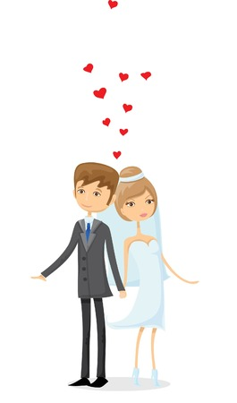 love wallpaper: Set of wedding pictures, bride and groom in love Illustration