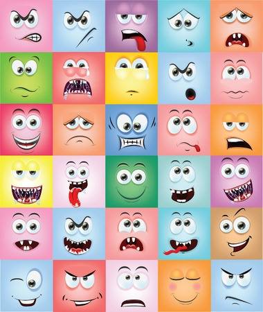 facial painting: Cartoon faces with emotions  Illustration