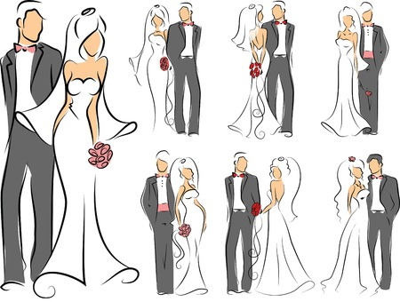 Silhouette of bride and groom, background Vector