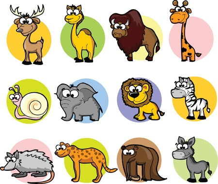 Set of cute cartoon animals  Vector