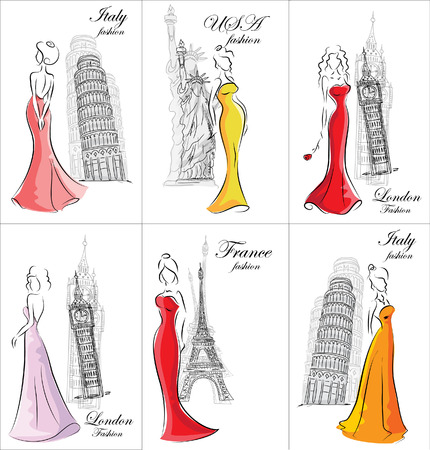 Fashion girls in different country