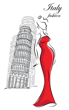 Fashion girls in Italy, vector background