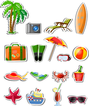 spanking: Vacation and travel icons, vector illustration
