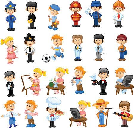 cartero: Personajes de dibujos animados de diferentes profesiones
