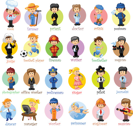 Cartoon characters of different professions  Çizim