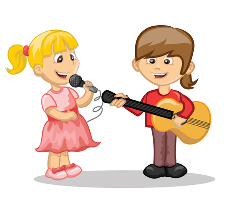 Cartoon characters-musician and singer  向量圖像
