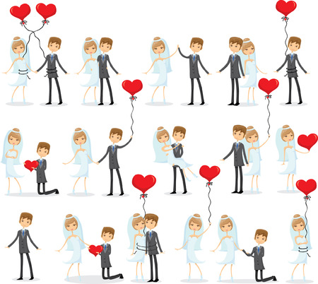 love kiss: Set of wedding pictures, bride and groom in love Illustration