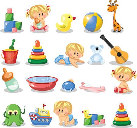 Vector illustration of baby boys, baby girls Vector