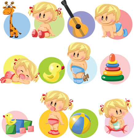 Vector illustration of baby boys, baby girls Vector