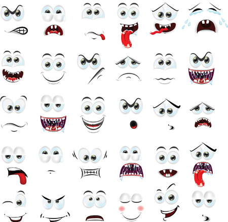 facial painting: Cartoon faces with emotions