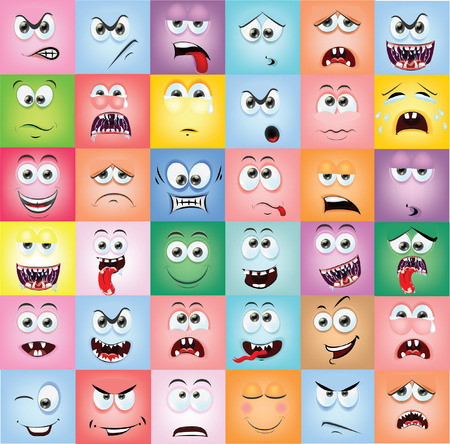 gestos de la cara: Caras de la historieta con emociones Vectores