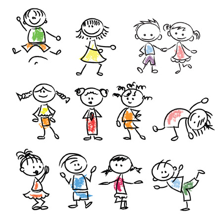 Bambini del fumetto di doodle Carino felici Archivio Fotografico - 33650002