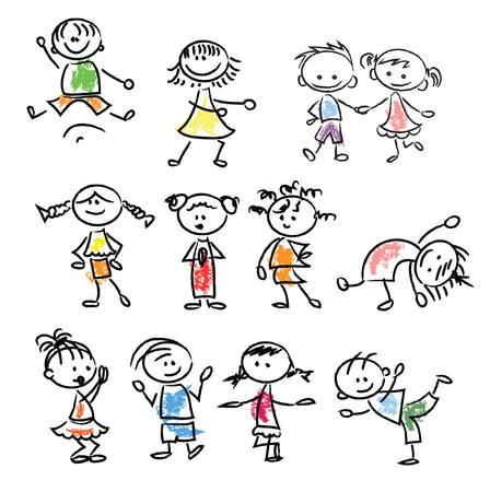 Cute happy cartoon doodle kids Vectores
