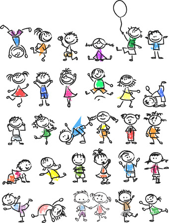 Cute happy cartoon doodle kids Illustration