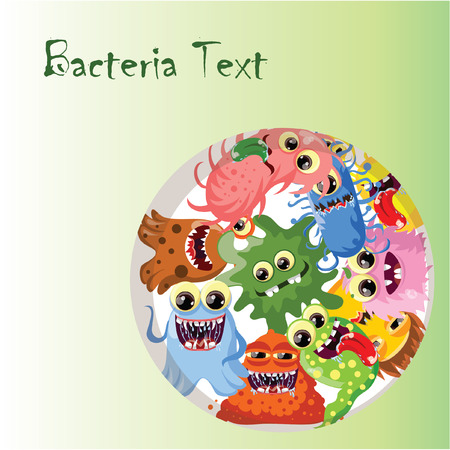 ugly gesture ugly gesture: Cartoon cute monsters and bacterias, background Illustration