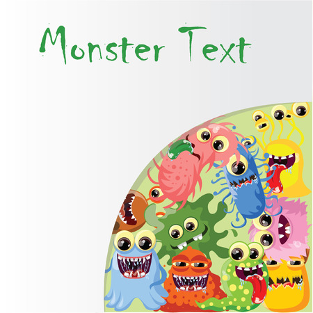 toy story: Cartoon cute monsters and bacterias, background Illustration
