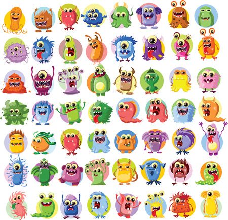 bacteria: Cartoon cute monsters and bacterias, background Illustration
