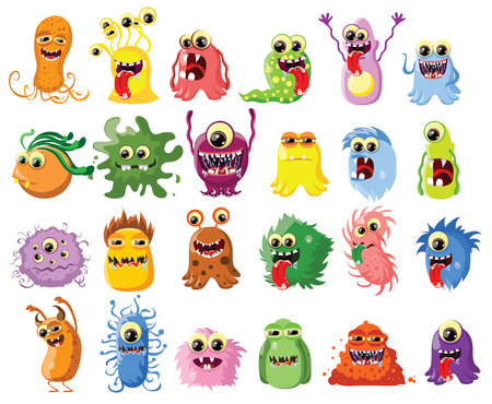 cartoon cute: Cartoon cute monsters and bacterias, background Illustration