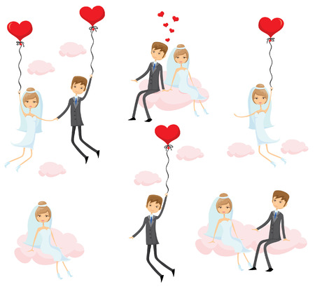 balloon woman: Set of wedding pictures, bride and groom in love Illustration
